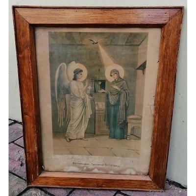 Картина Благовещение Пресвятой Богородицы. Литография XIX век. Багет