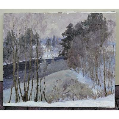 Картина В конце зимы. Карасёв Е.Ф. 1990 год. Холст, масло.