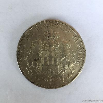 Монета 5 марок 1913 года Германия. Серебро