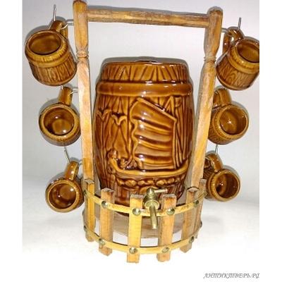 Бочка коньячная шесть кружек керамика